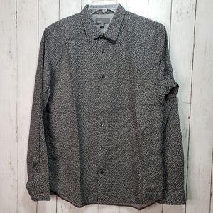 Vince Men's Button Up Black White Print Cotton